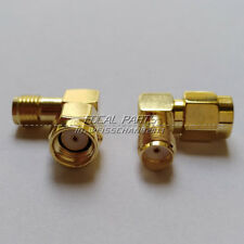 2PCS RP-SMA male to SMA Female Right Angle 90-Degree Gold Plated Adapter M497