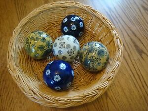 "5 Vintage Blue & White Chinoiseries 3-1/4"" Porcelain Carpet Balls Country Decor"
