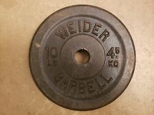 Rare Single 10lb Weider Standard Weight Barbell gym vintage CANADA date stamp