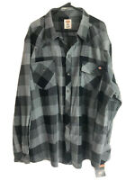 Dickies Cotton Flannel Button Up Shirt Mens 3XL XXXL Gray Plaid Long Sleeve New