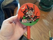 Vtg US Metal Toy Co. Metal Halloween Noise Maker w/ Wood Handle Witch Black Cat