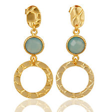 New Fashion 18k Gold Plated Silver Blue Chalcedony Drop Earrings Jewelry
