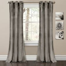 Prima Velvet Solid Room Darkening Window Curtain Panels Gray 38X95 Set