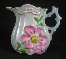 GERMANY Miniature CREAMER with BLOWN OUT PINK FLOWER & IRIDESCENT LUSTER GLAZE