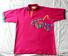 Vintage Greg Norman x Reebok 90's Shark Colorblock Hot Pink Polo Sz Large Golf