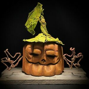 Halloween Pumpkin Carving Wood Carving Chainsaw Carving Ooak Shrum