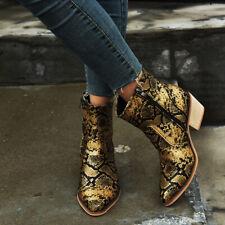 Women Snakeskin Boots Retro Round Toe High Heels Zipper Faux Leather Block Shoes
