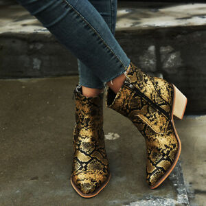 Women Snakeskin Boots Retro Round Toe High Heels Zipper Faux Leather Block Shoes