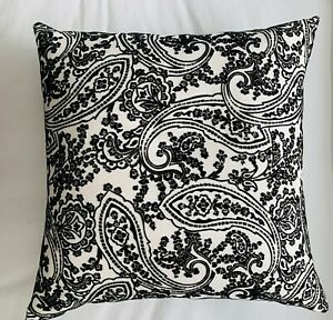 SHAMIANA ACCENTS Luxury Black velvet design White Pillow 20x20 Down Insert