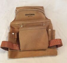 Vintage CRAFTSMAN 937722 Carpenters Suede 10 Pocket Nail Tool Pouch - USA MADE
