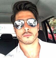"Aviator ""SILVER STAR"" Men Guy Mirror Reflective Metal  Sunglasses Aviator Shadz"