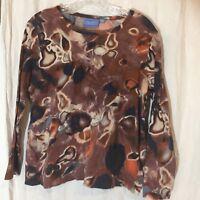 Simply Vera Women's Shirt Petite XL Cotton Impressionist Pattern Pullover