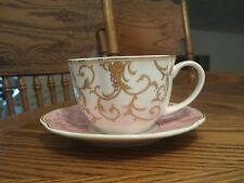 GRACE'S TEAWARE PINK AND WHITE TEACUP AND SAUCER WITH GRAPEVINE PATTERN!  NEW!