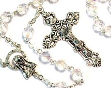 Irish Celtic Rosary Beads From Ireland - Clear Beads #G-808