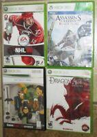 Lot 4 XBox 360 Video Games Dragon Origins Creed Black Flags Soul Calibur NHL 08