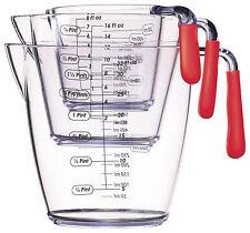 Colourworks Set Three Piece Measuring Jug Red Handles Kitchen Tools Safe Grips