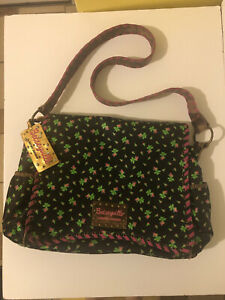 Betsey Johnson Messenger Bag amazing vintage floral bag with cheetah interior