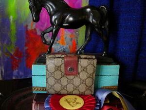RARE Vintage GUCCI Brown GG Monogram Wallet Coin Purse Handbag Accessory