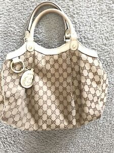 GUCCI SUKEY TOP HANDLES SATCHEL WITH WHITE LEATHER TRIM