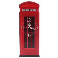 Wall Clock Vintage Style Telephone Red Box Shape Classic UK Phone Box Home Deco