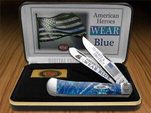 Case xx Police America's Heroes Wear Blue Trapper Knife Blue Cloud Corelon
