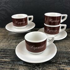 3 Set Of ACF Italy Espresso Cups & Saucers Brown Coffee Porcelain Italian Illy