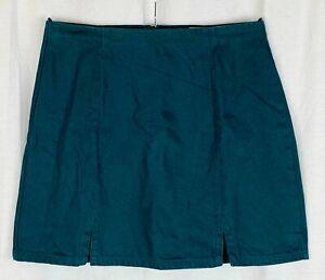 ASOS Womens Green Denim A-Line Party Skirt Size 14