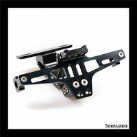 Support + Eclairage de Plaque Immatriculation LED Aluminium CNC Masse Moto NOIR