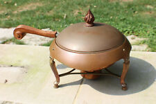 "Antique Chafing Dish California Coppersmith John C. Moore - Art Deco Copper 11"""
