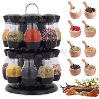 16 Jars Rotating Spice Rack Carousel Kitchen Storage Holder Revolving Herbs