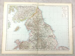 1895 Map of England Wales Midlands Yorkshire North East Antique 19th Century
