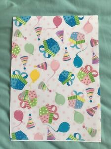 Party Balloons & Presents Thick Fabric/Paper Coloured A4 Sheet