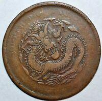 1902 CHINA HUPEH 10 CASH COIN Y#120a.2 1902年湖北光绪元宝当十铜币(大坐龙)