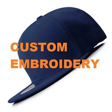 Create Your Custom Personalised Embroidery Navy FLAT Brim SNAPBACK Cap Hat