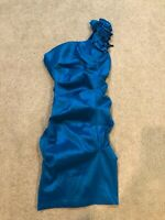 Eureka Womens Dress Sz XS Blue Ruched Bodycon Stretch holiday Prom Party Formal