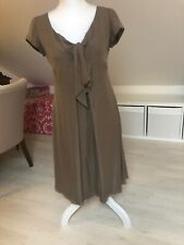 Armani Collezioni Silk Dress Size 42 Pussy Bow Empire Khaki  Cap Sleeves 10 Ah