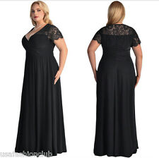 Women's Plus Size Short Sleeves High Waist Evening Cocktail Gown Long Lace Dress