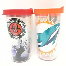 Tervis Tumblers 2 Travel Mug Cups 16oz Hot Cold Zombie Outbreak Miami Dolphins
