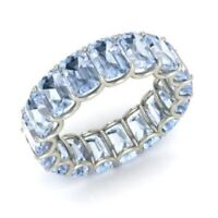 7.50 Ct Aquamarine Engagement Eternity Band 14K Solid White Gold Rings Size L N
