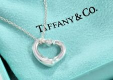 "Tiffany & Co Plata Doble Dos Diamante Colgante Corazón Abierto 16"" Caja Collar"