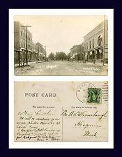MICHIGAN BURR OAK MAIN ST REAL PHOTO POSTED 1907 TO A.D. HIMEBAUGH, HESPERIA, MI