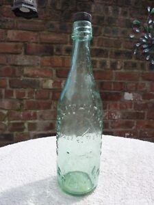 Large Old Groves & Whitnall Ltd Salford Glass Bottle Clear Colour 26.5cm Good C