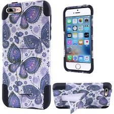 Purple Butterfly Design 2Pc Hybrid T Kickstand Case Cover for Apple iPhone 7+