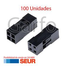 x100 Carcasa conector Dupont 2x2p 2.54mm plastico Negro Cable de Puente