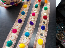 3.5cm gold multi pompom mirror embroidered ribbon applique motif trim Indian