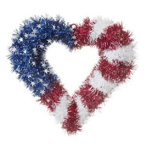 Red, White and Blue Heart Shaped Wreath
