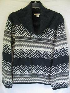 Coldwater Creek Wool Blend Fair Isle Pullover Sweater MACHINE WASH! - COLORS!