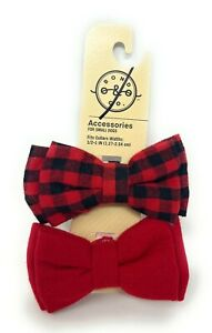 Bond & Co. Dog Bow Tie Set Of 2 Red Flannel Bowtie Set Pet Clothing Accessories