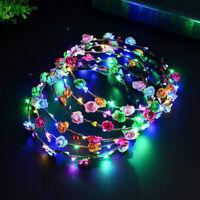 LED Light Up Flower Headband Hair Wreath Garlands for Wedding Festival Party