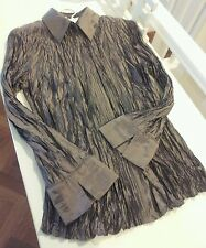 Ladies 8-10 crushed taffeta pewter shirt concealed buttons l/sleeve nwot!Lovely